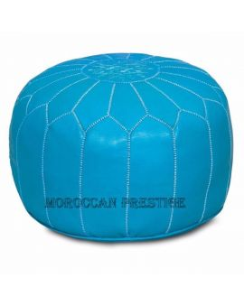 Dark Turquoise Leather Pouf